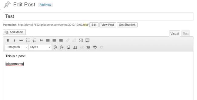 Setting shortcode